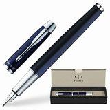 """Ручка перьевая PARKER """"IM Blue CT"""", корпус синий, латунь, хромированные детали, S0856210, черная"""