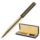"""Ручка подарочная шариковая GALANT """"Black Melbourne"""", корпус золотистый с черным, золотистые детали, пишущий узел 0,7 мм, синяя, 141356"""