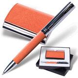 """Набор GALANT """"Prestige Collection"""": ручка, визитница, оранжевый, """"фактурная кожа"""", подарочная кор., 141375"""