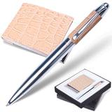 """Набор GALANT """"Prestige Collection"""": ручка, визитница, бежевый, """"кожа крокодила"""", подарочная коробка, 141381"""