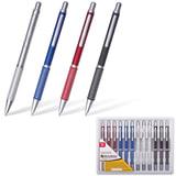 """Ручка бизнес-класса шариковая BRAUBERG """"Breeze"""", корпус ассорти, серебристые детали, 1 мм, синяя, 141424"""