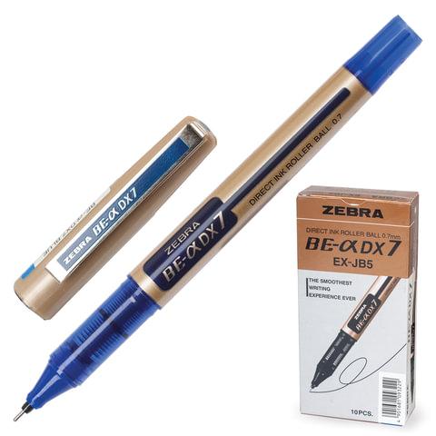"""Ручка-роллер ZEBRA """"Zeb-Roller DX7"""", корпус золотистый, толщина письма 0,7 мм, синяя, EX-JB3-BL"""