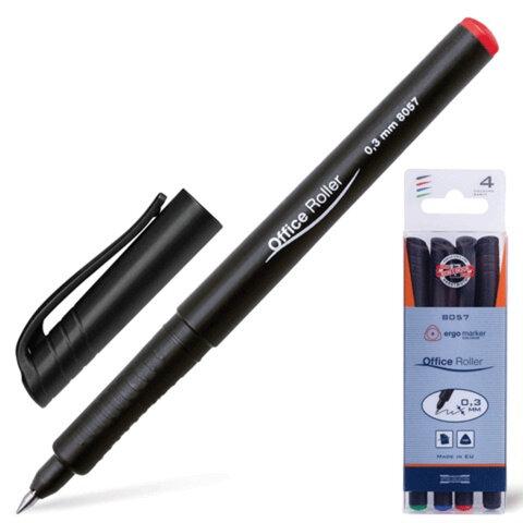 Ручки-роллеры KOH-I-NOOR, набор 4 шт., трехгранные, 0,3 мм, европодвес, синяя, черная, красная, зеленая, 778057JD01PK
