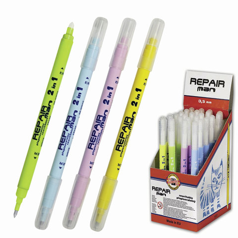 """Ручка """"Пиши-стирай"""" роллер KOH-I-NOOR """"Repair Man"""", корпус ассорти, толщина письма 0,3 мм, дисплей, синяя, 7719831702KD"""