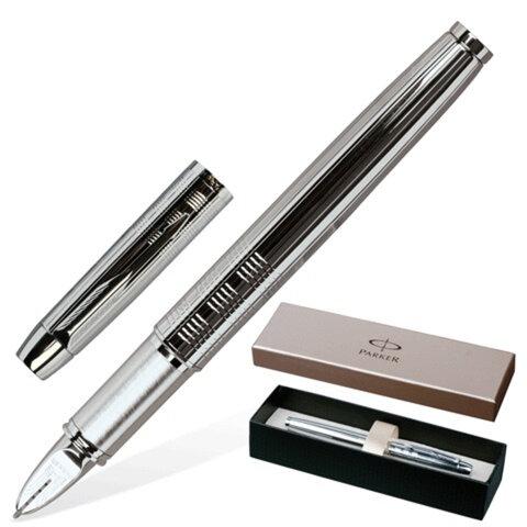 """Ручка PARKER """"5-й пишущий узел"""" """"IM Premium Chiselled"""", """"сияющий хром"""", латунь, хромированные детали, S0976090, черная"""