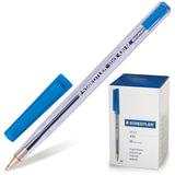 """Ручка шариковая STAEDTLER """"Stick Document"""", СИНЯЯ, корпус прозрачный, узел 1,2 мм, линия письма 0,5 мм, 430 M 03"""