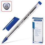 """Ручка шариковая STAEDTLER """"Ball"""", СИНЯЯ, трехгранная, корпус прозрачный, узел 1 мм, линия письма 0,5 мм, 432 M-3"""