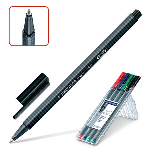 """Ручки-роллеры STAEDTLER (ШТЕДЛЕР, Германия), набор 4 шт., """"Triplus"""", трехгранные, 0,4 мм, черная, синяя, красная, зеленая, 403 SB4"""