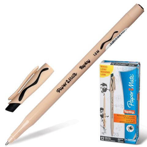 """Ручка """"Пиши-стирай"""" шариковая PAPER MATE """"Replay"""", корпус бежевый, толщина письма 1 мм, черная, S0190784"""
