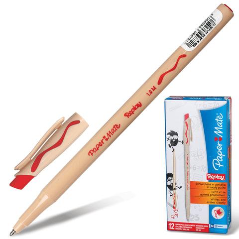 """Ручка """"Пиши-стирай"""" шариковая PAPER MATE """"Replay"""", корпус бежевый, толщина письма 1 мм, красная, S0190803"""
