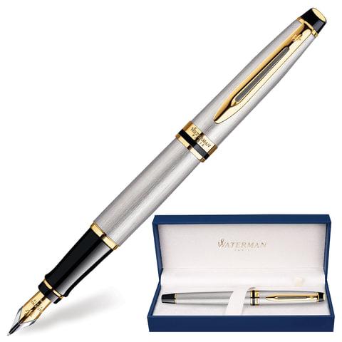 """Ручка перьевая WATERMAN """"Expert 3 Stainless Steel GT"""", корпус серебристый, латунь, позолоченные детали, S0951940, синяя"""
