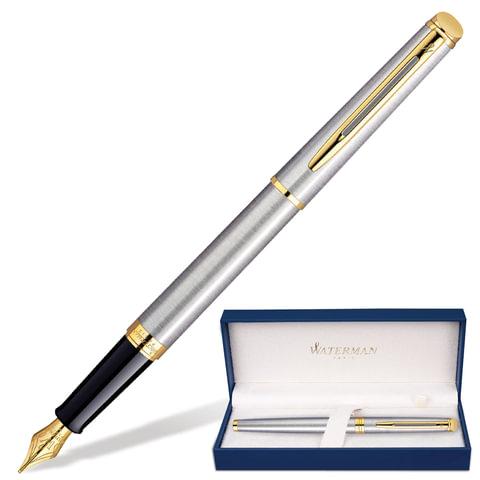 """Ручка перьевая WATERMAN """"Hemisphere Steel GT"""", корпус серебристый, нержавеющая сталь, позолоченные детали, S0920310, синяя"""