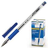 Ручка шариковая BEIFA (Бэйфа), корпус прозрачный, узел 0,7 мм, линия 0,5 мм, резиновый упор, синяя, AA999-BL