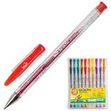"""Ручки гелевые BEIFA (Бэйфа), набор 10 шт., """"WMZ"""", корпус прозрачный с блестками, цветные детали, 0,7 мм, подвес, ассорти, GA1030-10"""