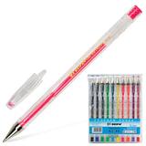 Ручки гелевые BEIFA (Бэйфа), набор 10 шт., корпус прозрачный, цветные детали, металлический наконечник, 0,5 мм, подвес, ассорти, PX888-10