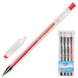 Ручки гелевые BEIFA (Бэйфа), набор 4 шт., корпус прозрачный, цветные детали, металлический наконечник, 0,5 мм, подвес, ассорти, PX888-4