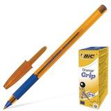 """Ручка шариковая BIC """"Orange Grip"""", корпус оранжевый, узел 0,8 мм, линия 0,3 мм, резиновый упор, синяя, 811926"""