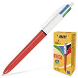 """Ручка шариковая автоматическая BIC """"4 Colours"""", 4-цветная, узел 0,8 мм, линия 0,3 мм, синий, черный, красный, зеленый, 889971"""