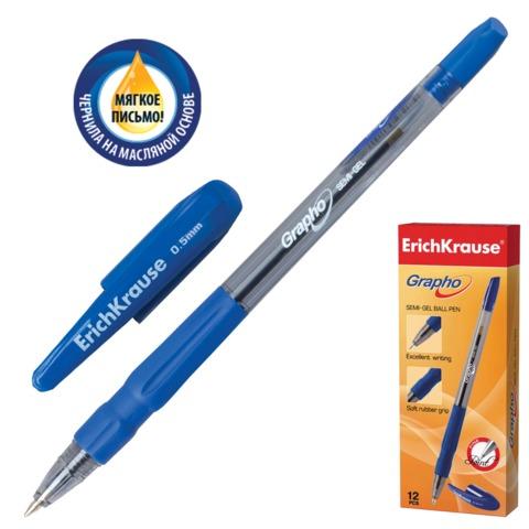 """Ручка шариковая масляная ERICH KRAUSE """"Grapho"""", резиновый грип, корпус тонированный синий, 0,5 мм, синяя, 28267"""
