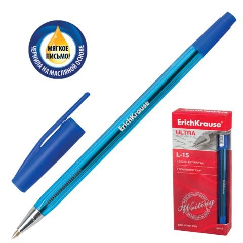"""Ручка шариковая масляная ERICH KRAUSE """"Ultra L-15"""", корпус тонированный, 0,35 мм, синяя, 32978"""