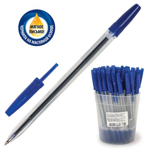 """Ручка шариковая масляная СТАММ """"Optima"""", корпус прозрачный, 0,7 мм, синяя, РО20"""