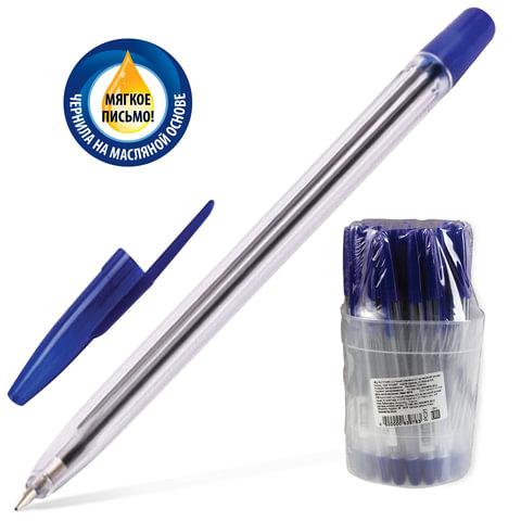 """Ручка шариковая масляная СТАММ """"111"""", корпус прозрачный, 1 мм, синяя, РС21"""