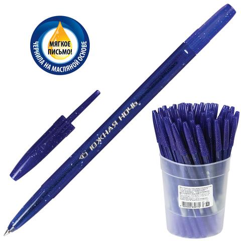 """Ручка шариковая масляная СТАММ """"Южная ночь"""", корпус тонированный синий, 0,7 мм, синяя, РК21"""