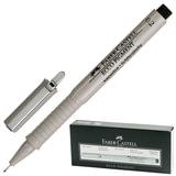 """Ручка капиллярная FABER-CASTELL """"Ecco Pigment"""", корпус серый, толщина письма 0,2 мм, черная, 166299"""