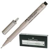 """Ручка капиллярная FABER-CASTELL """"Ecco Pigment"""", толщина письма 0,6 мм, корпус серый, черная, 166699"""