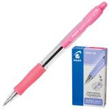 """Ручка шариковая масляная PILOT автоматическая, BPGP-10R-F """"Super Grip"""", корпус розовый, резиновый упор, 0,32 мм, синяя"""