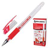 """Ручка """"Пиши-стирай"""" гелевая BRAUBERG """"Number 1"""", толщина письма 0,5 мм, резиновый держатель, красная, 141882"""
