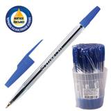 """Ручка шариковая масляная СТАММ """"511"""", корпус прозрачный, узел 1,2 мм, линия 0,7 мм, синяя, РК30"""