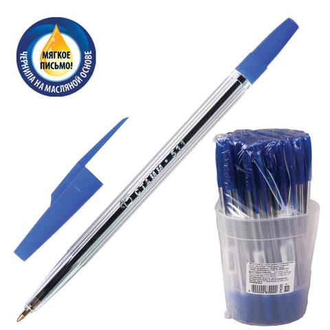 """Ручка шариковая масляная СТАММ """"511"""", корпус прозрачный, толщина письма 0,7 мм, синяя, РК30"""