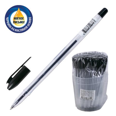 """Ручка шариковая масляная СТАММ """"VeGa"""", корпус прозрачный, толщина письма 0,7 мм, черная, РШ108"""