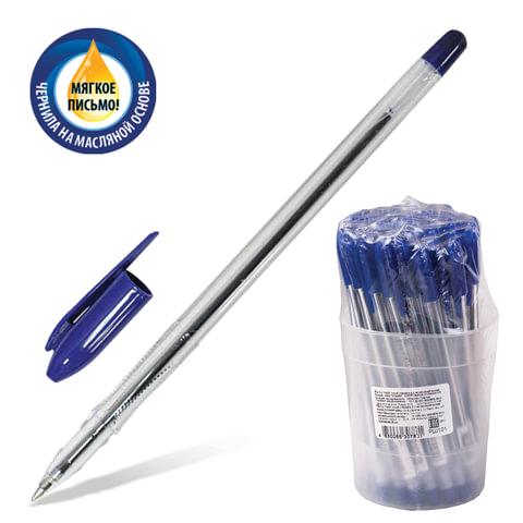 """Ручка шариковая масляная СТАММ """"VeGa"""", корпус прозрачный, толщина письма 0,7 мм, синяя, РШ101"""