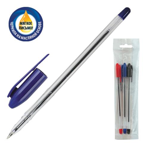 """Ручки шариковые масляные СТАММ """"VeGa"""", набор 3 шт., толщина письма 0,7 мм, европодвес (синяя, черная, красная), РШ106"""