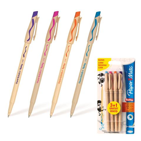 """Ручки """"Пиши-стирай"""" шариковые PAPER MATE, набор 4 шт., """"Replay"""", фиолетовая, оранжевая, бирюзовая, розовая, 1,0 мм, S0935590"""