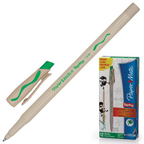 "Ручка ""Пиши-стирай"" шариковая PAPER MATE ""Replay"", корпус бежевый, 1 мм, зеленая, S0183001"