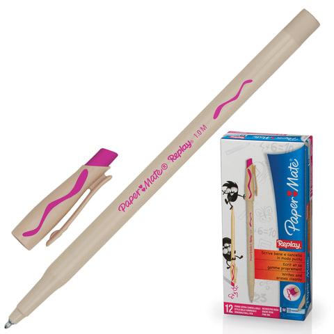 "Ручка ""Пиши-стирай"" шариковая PAPER MATE ""Replay"", корпус бежевый, 1 мм, розовая, S0851441"