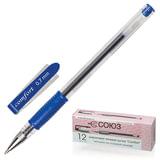 """Ручка гелевая СОЮЗ """"Comfort"""", корпус прозрачный, резиновый держатель, толщина письма 0,7 мм, синяя, РГ 166-01"""