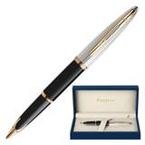 """Ручка перьевая WATERMAN """"Carene Deluxe GT"""", корпус черный, нержавеющая сталь, позолоченные детали, синяя, S0699920"""