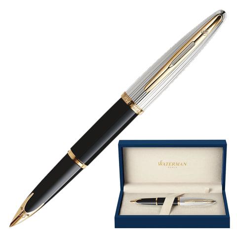 """Ручка перьевая WATERMAN """"Carene Deluxe GT"""", корпус черный, нержавеющая сталь, позолоченные детали, S0699920, синяя"""