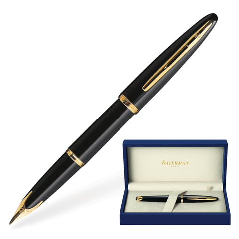 """Ручка перьевая WATERMAN """"Carene GT"""", корпус черный, нержавеющая сталь, позолоченные детали, S0700300, синяя"""