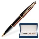 """Ручка перьевая WATERMAN """"Carene GT"""", корпус коричневый, нержавеющая сталь, позолоченные детали, синяя, S0700860"""