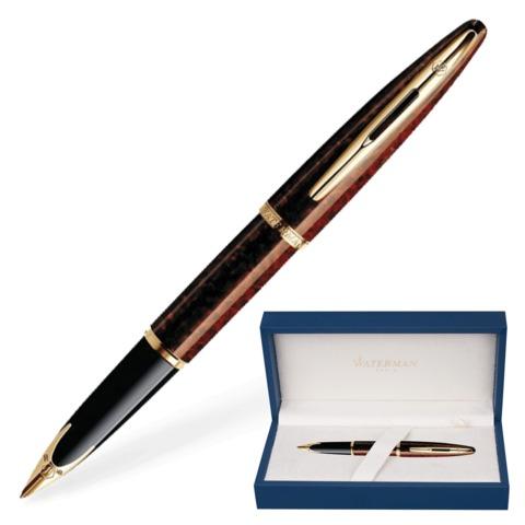 """Ручка перьевая WATERMAN """"Carene GT"""", корпус коричневый, нержавеющая сталь, позолоченные детали, S0700860, синяя"""