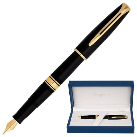 """Ручка перьевая WATERMAN """"Charleston GT"""", корпус черный, акриловая смола, позолоченные детали, S0700980, синяя"""