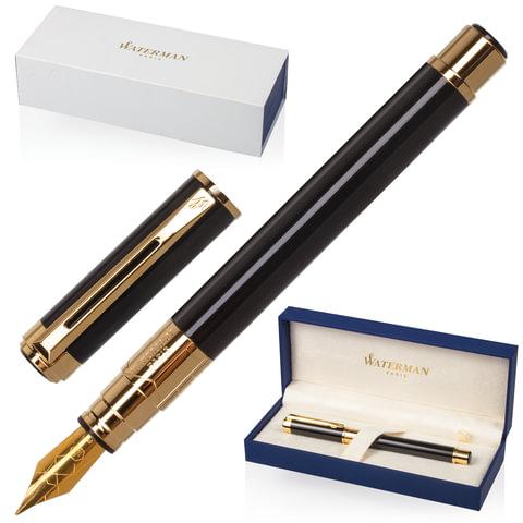 """Ручка перьевая WATERMAN """"Perspective GT"""", корпус черный, латунь, позолоченные детали, S0830800, синяя"""