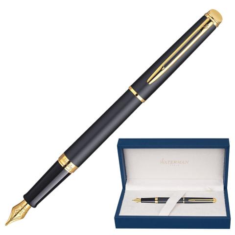 """Ручка перьевая WATERMAN """"Hemisphere Matte GT"""", корпус черный, матовый лак, нержавеющая сталь, позолоченные детали, S0920710, синяя"""