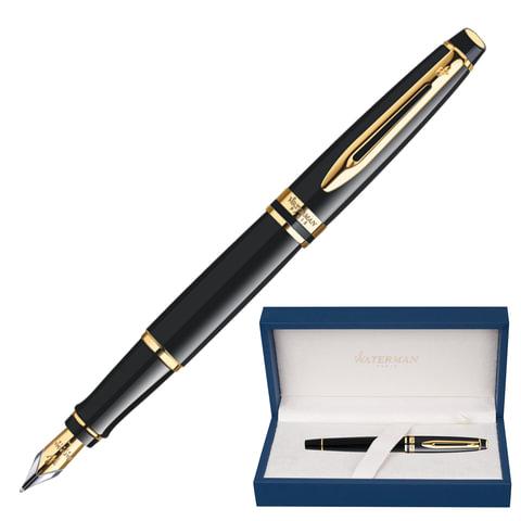 """Ручка перьевая WATERMAN """"Expert GT"""", корпус черный, нержавеющая сталь, позолоченные детали, S0951640, синяя"""