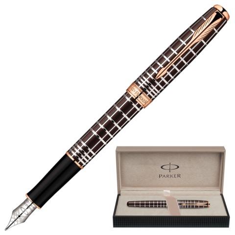 """Ручка перьевая PARKER """"Sonnet Lacquer PGT"""", корпус коричневый лак, нержавеющая сталь, позолоченные детали, 1859480, черная"""